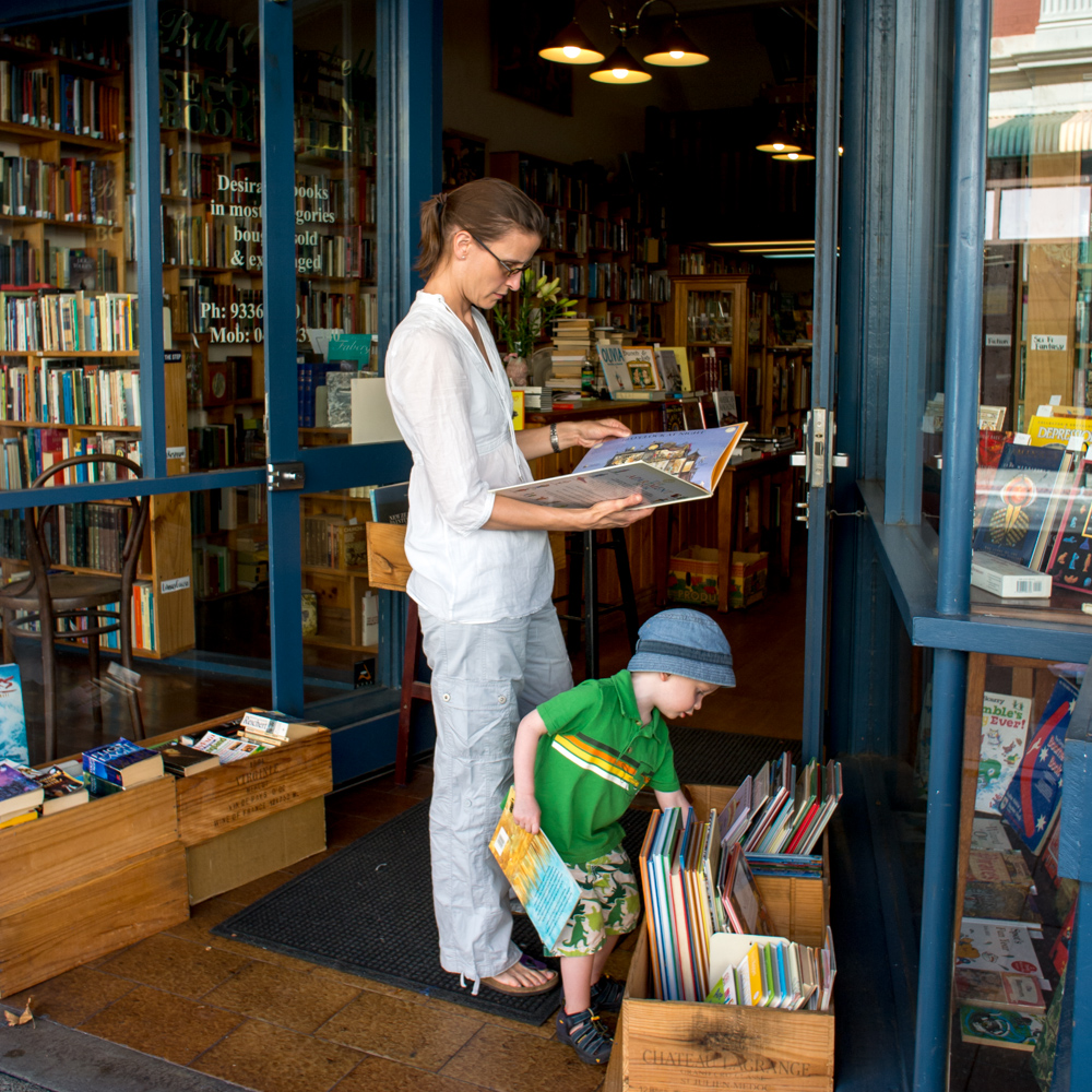 Checking out the local book store – Freemantle, Perth, Australia