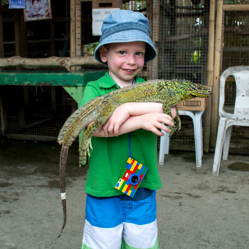 Rowan and a lizard – Bohol, Philippines