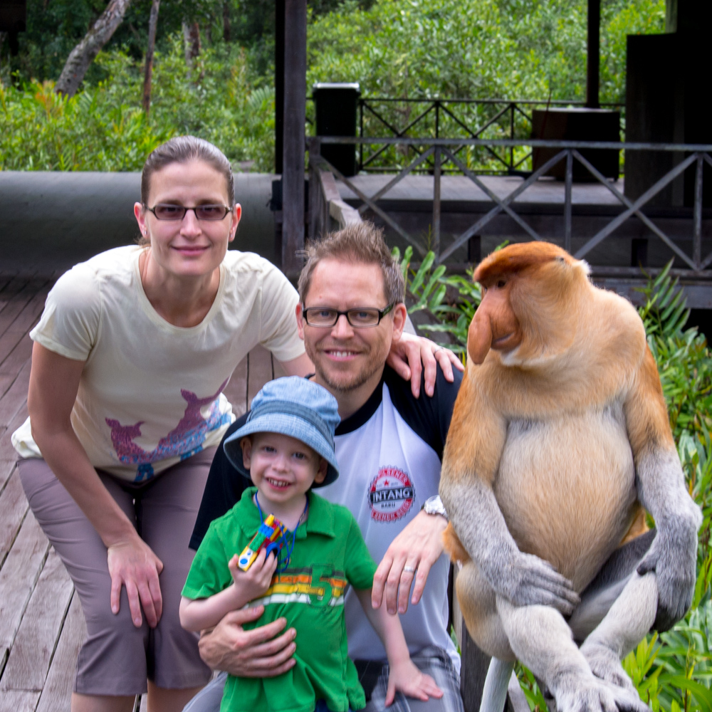 Monkey hanging with the family – Selingan Island, Borneo