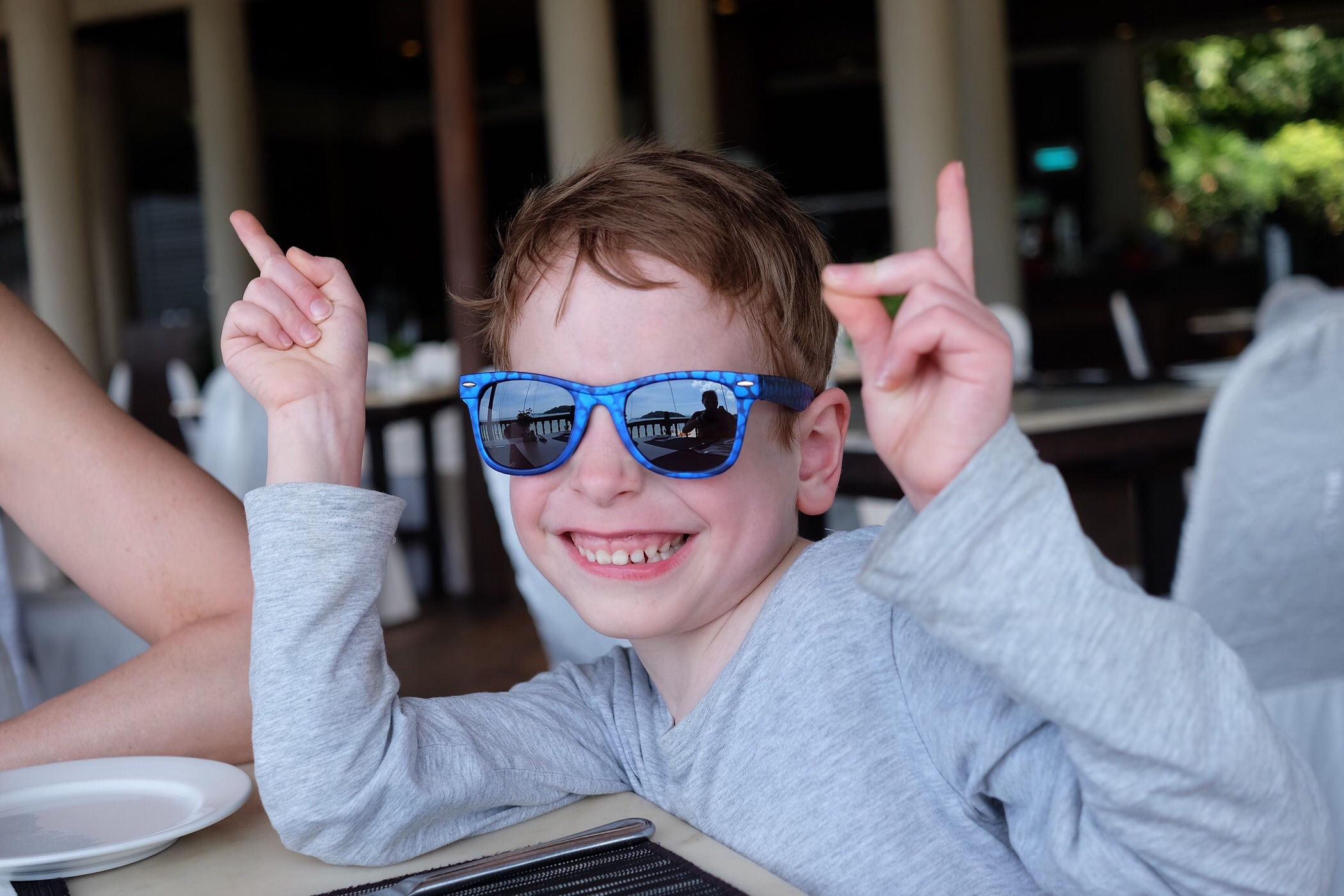 Rowan having fun at lunch — Langkawi
