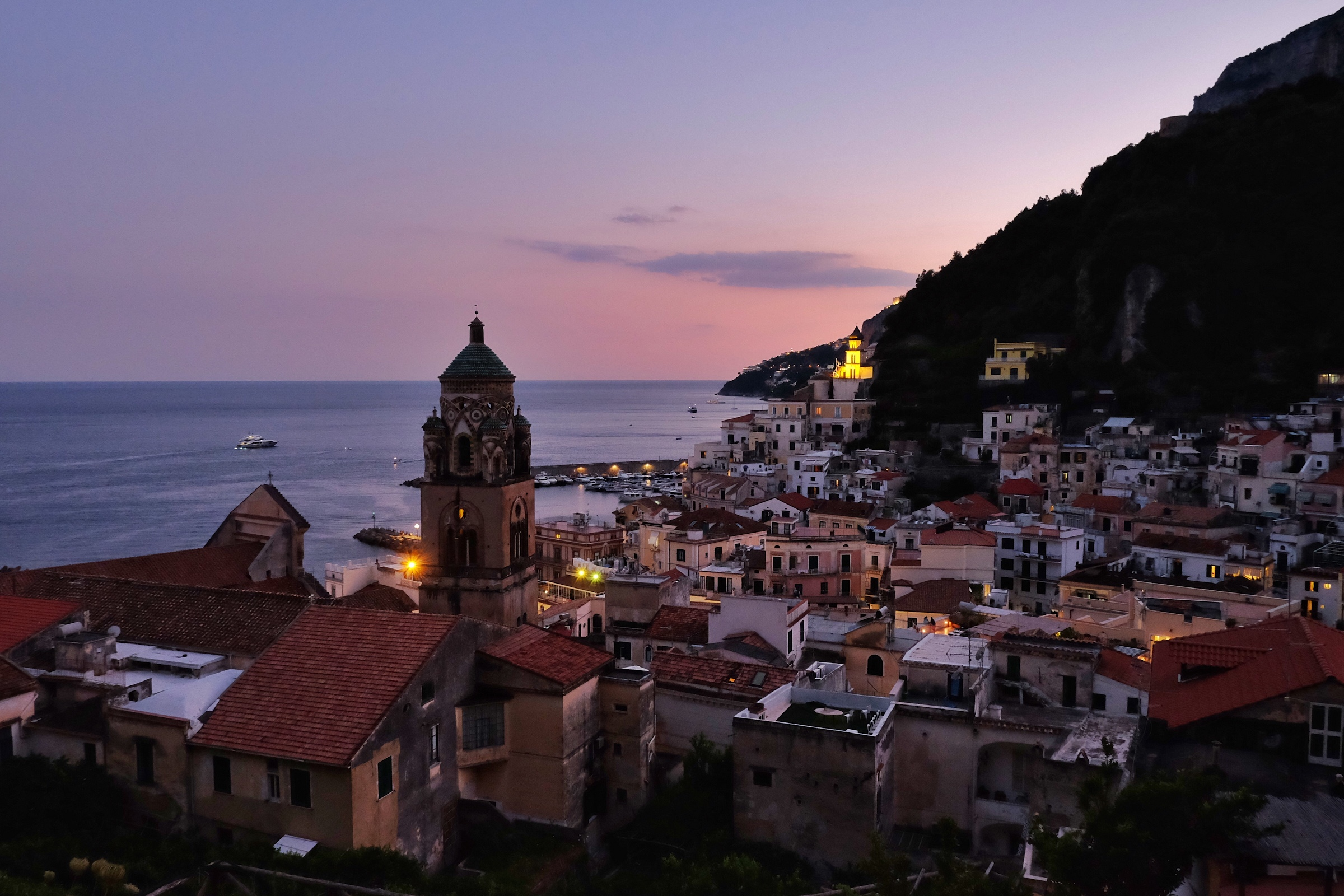 Dusk view from our apartment in Amalfi.