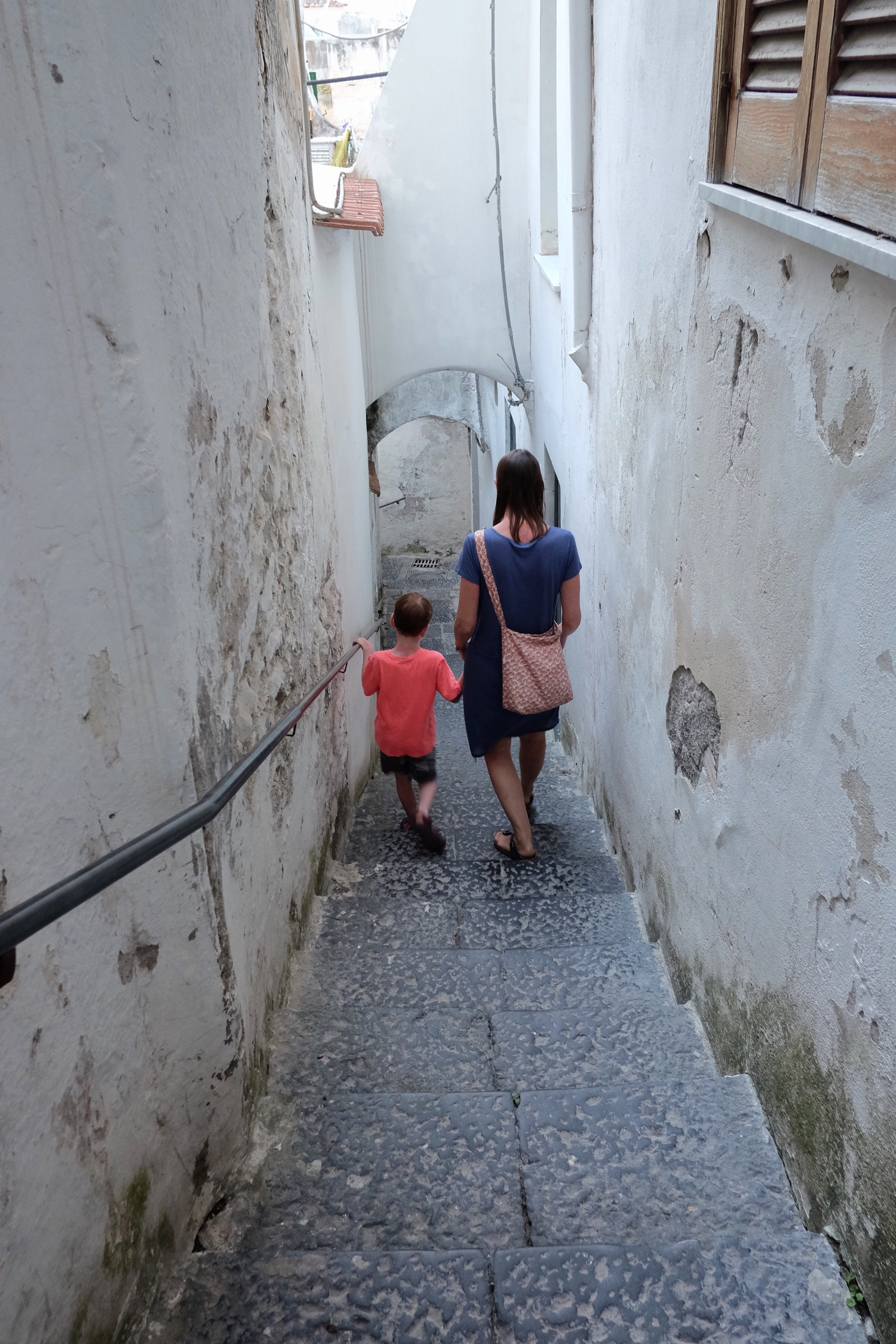 Navigating the many stairs of Amalfi.