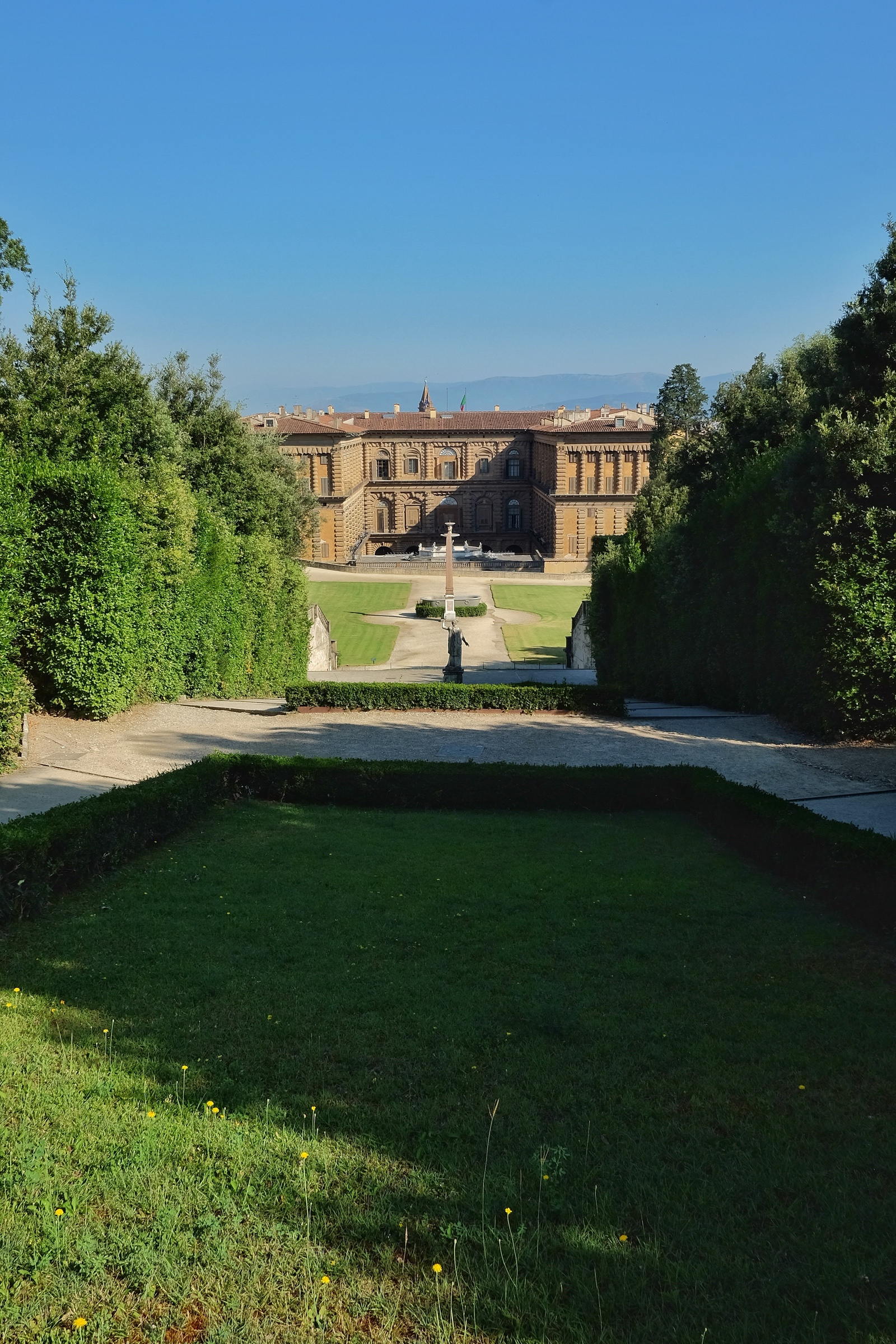 Looking towards the Pitti Palace from the gorgeous Boboli Gardens.