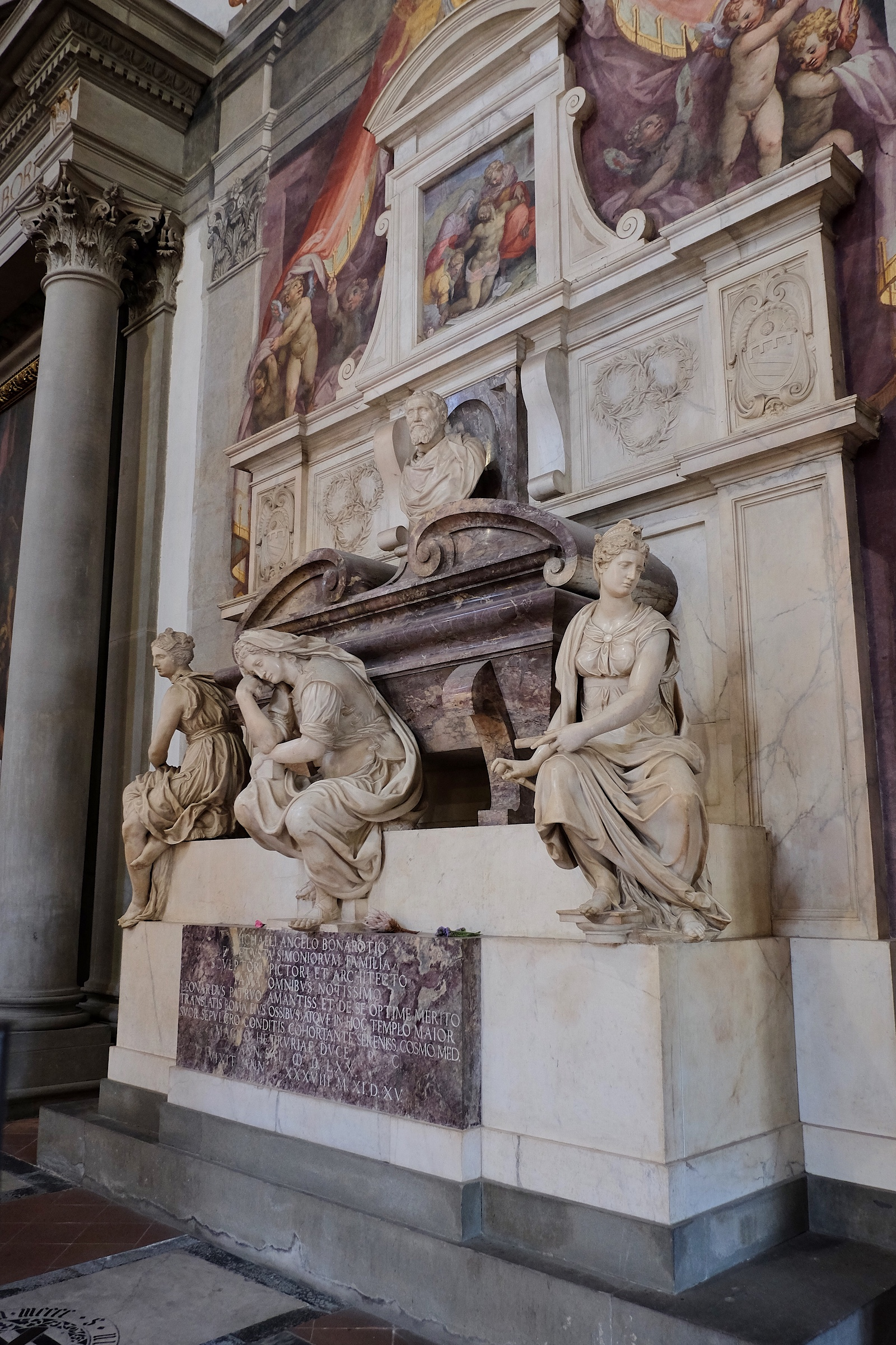 The tomb of Michelangelo in Santa Croce.