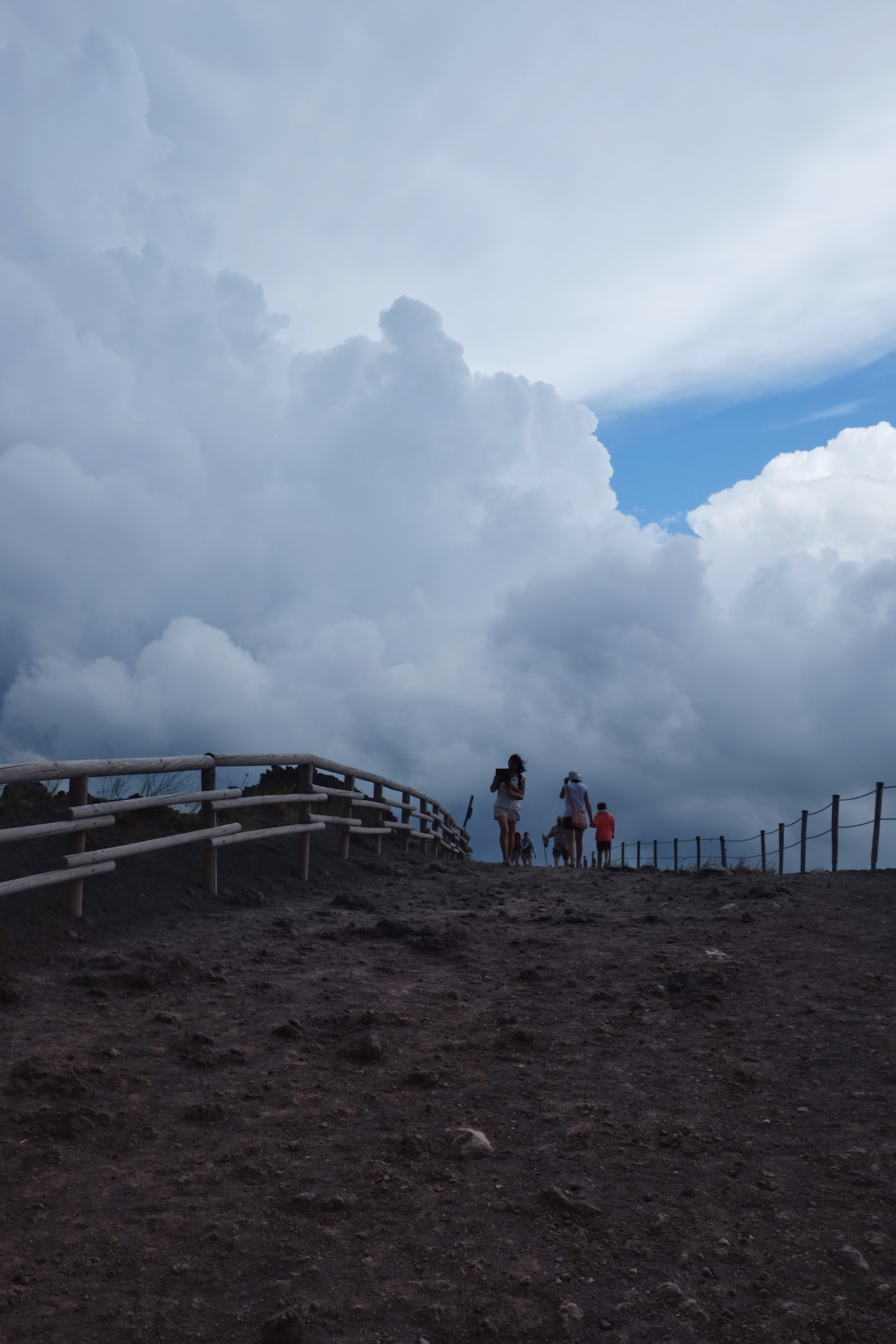 Walking within the clouds on Mount Vesuvius.