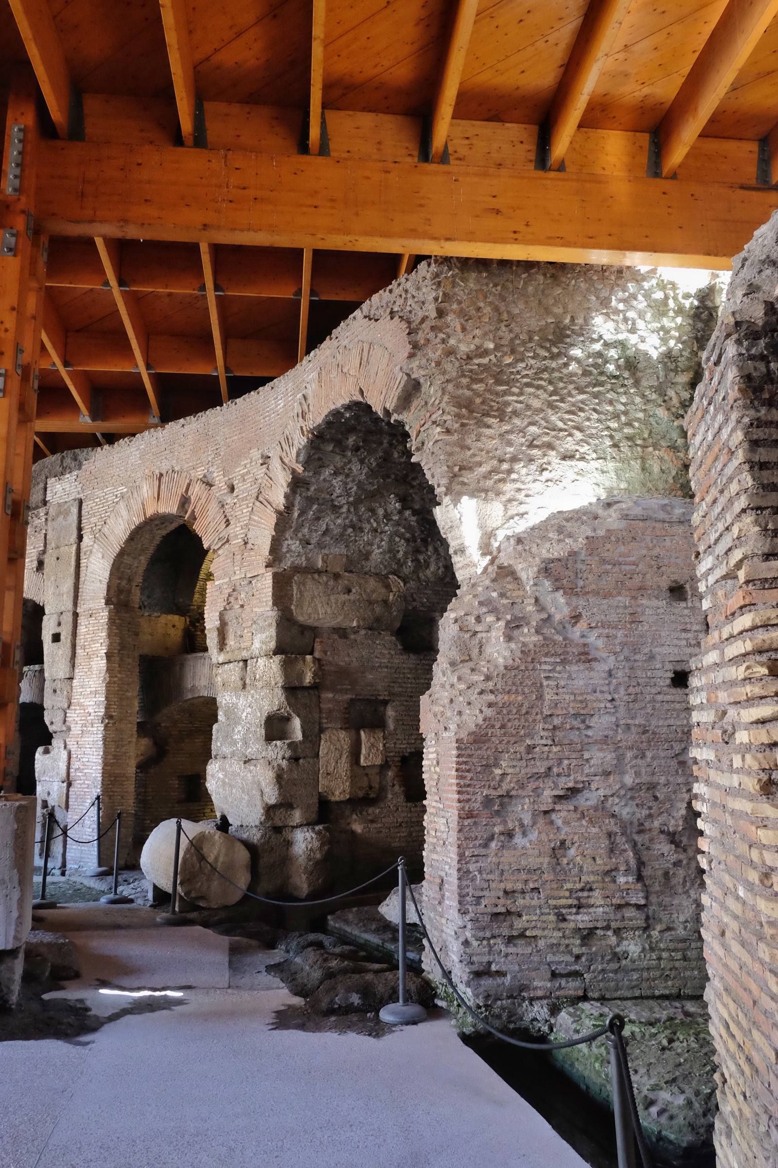 The alcoves under the Colosseum floor where animals would be held.