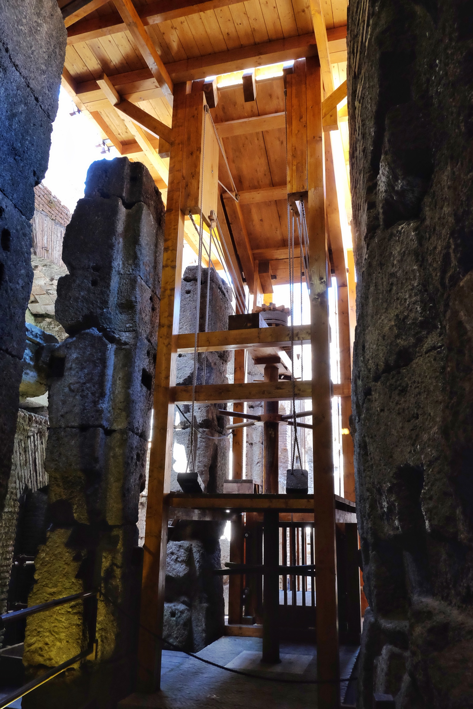 A reconstructed Colosseum elevator used to raise gladiators, animals and other items to the game floor.