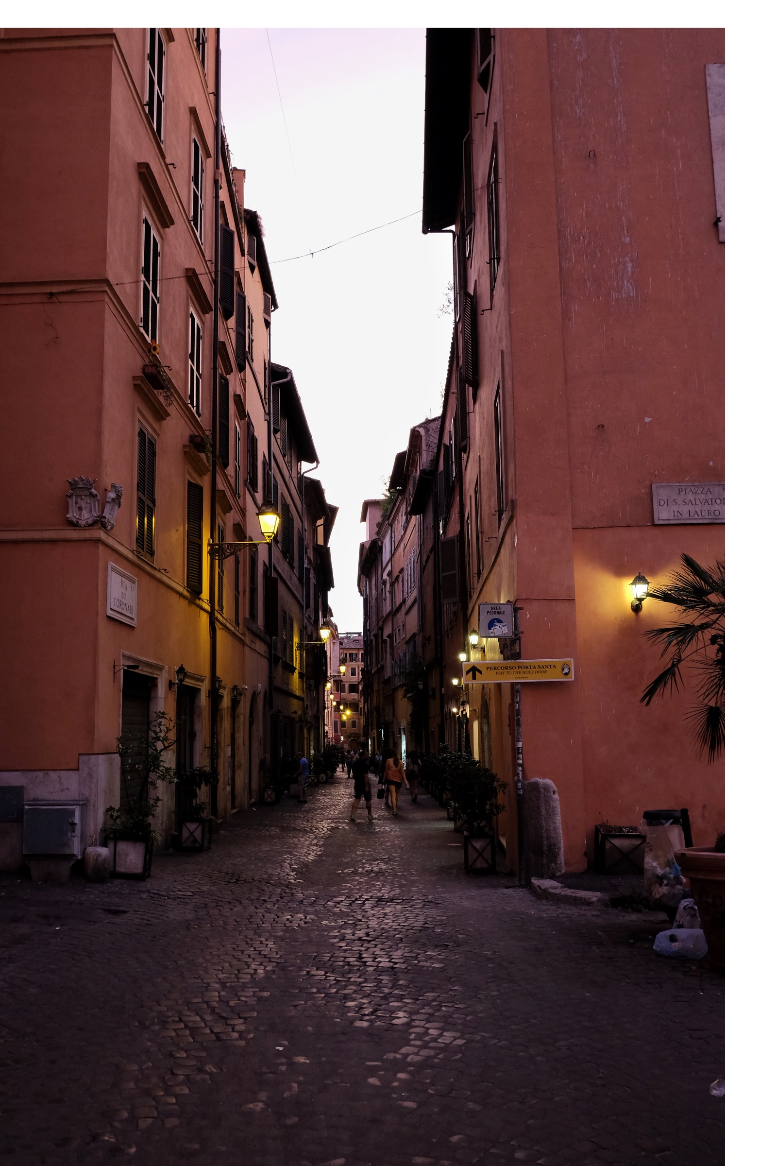 Strolling down the lantern lighted streets of Rome.