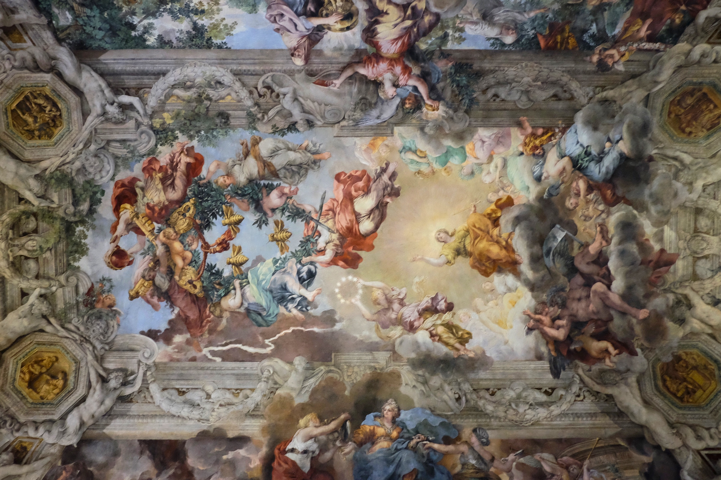 One of many beautiful ceiling frescoes in Palazzo Barberini.
