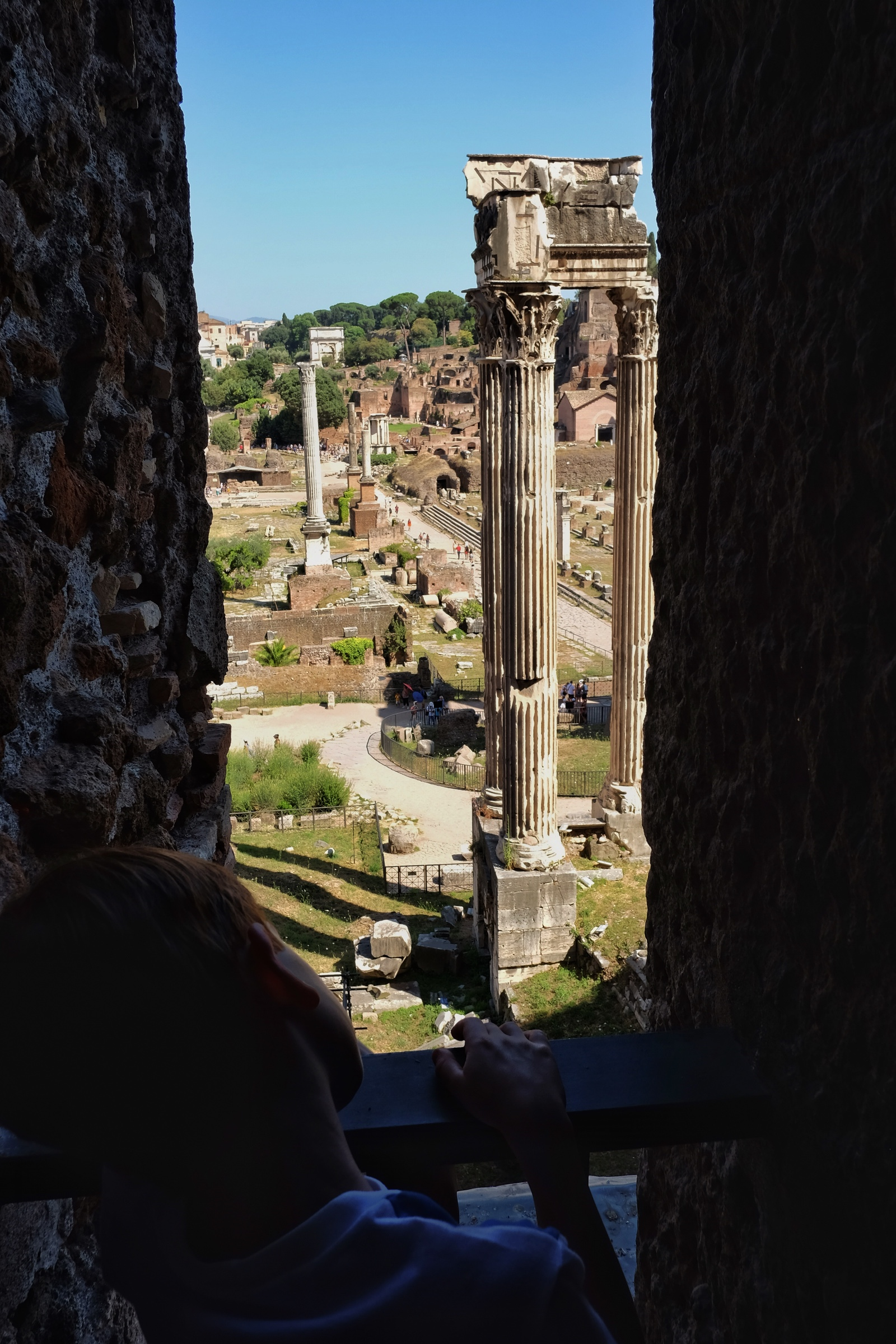 Rowan looking down on the Roman Forum from the Capitolini Museums.